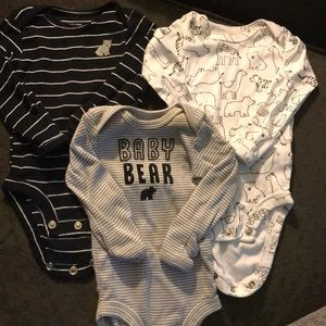 Long Sleeve Newborn Onesies - 3 pack